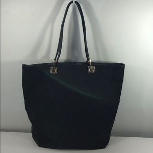 Authentic Gucci Black Canvas Lether Trim Tite Bag